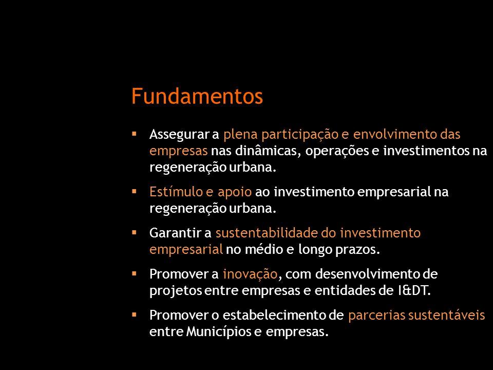 Fundamentos Assegurar a plena participação e envolvimento das empresas nas dinâmicas, operações e investimentos na regeneração urbana.