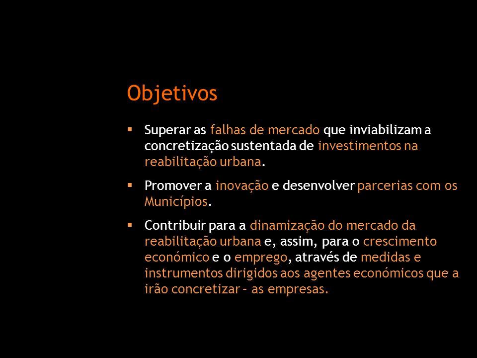 Objetivos Superar as falhas de mercado que inviabilizam a concretização sustentada de investimentos na reabilitação urbana.