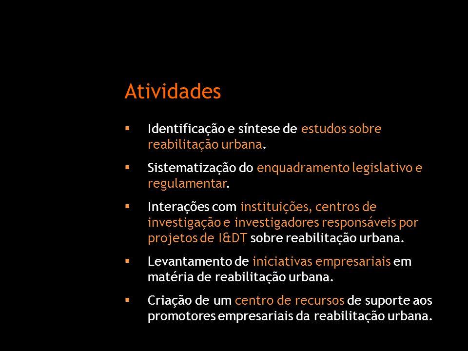 Atividades Identificação e síntese de estudos sobre reabilitação urbana. Sistematização do enquadramento legislativo e regulamentar.
