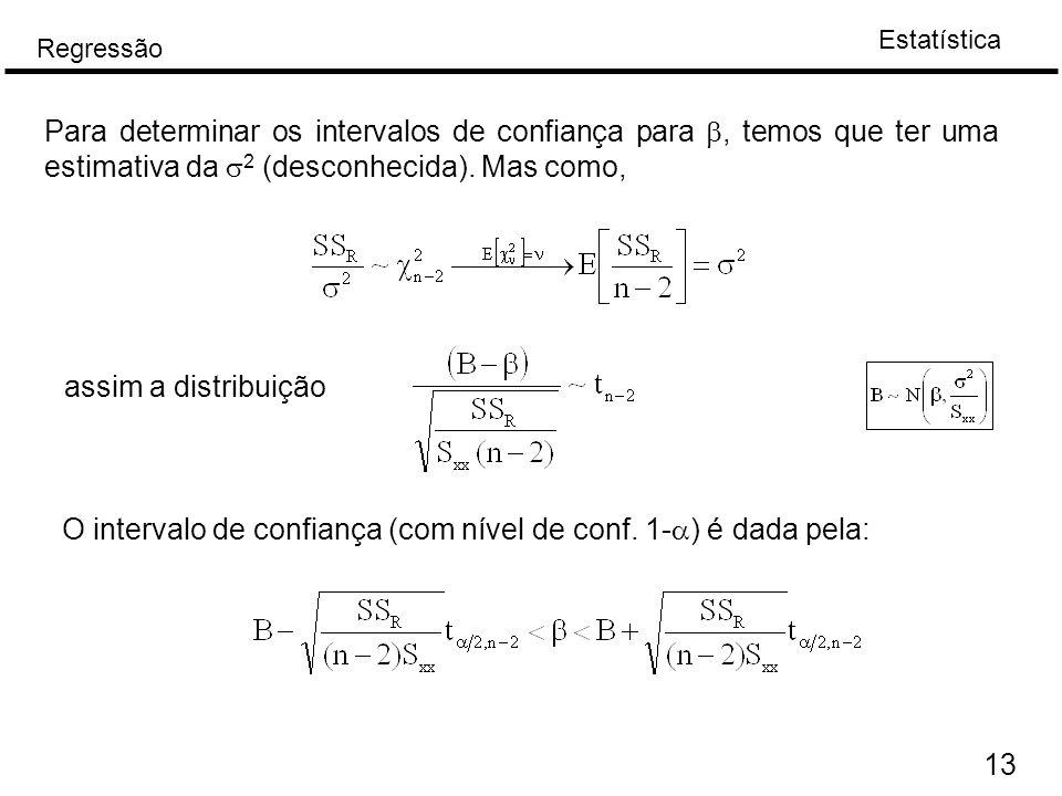 Para determinar os intervalos de confiança para b, temos que ter uma estimativa da s2 (desconhecida). Mas como,