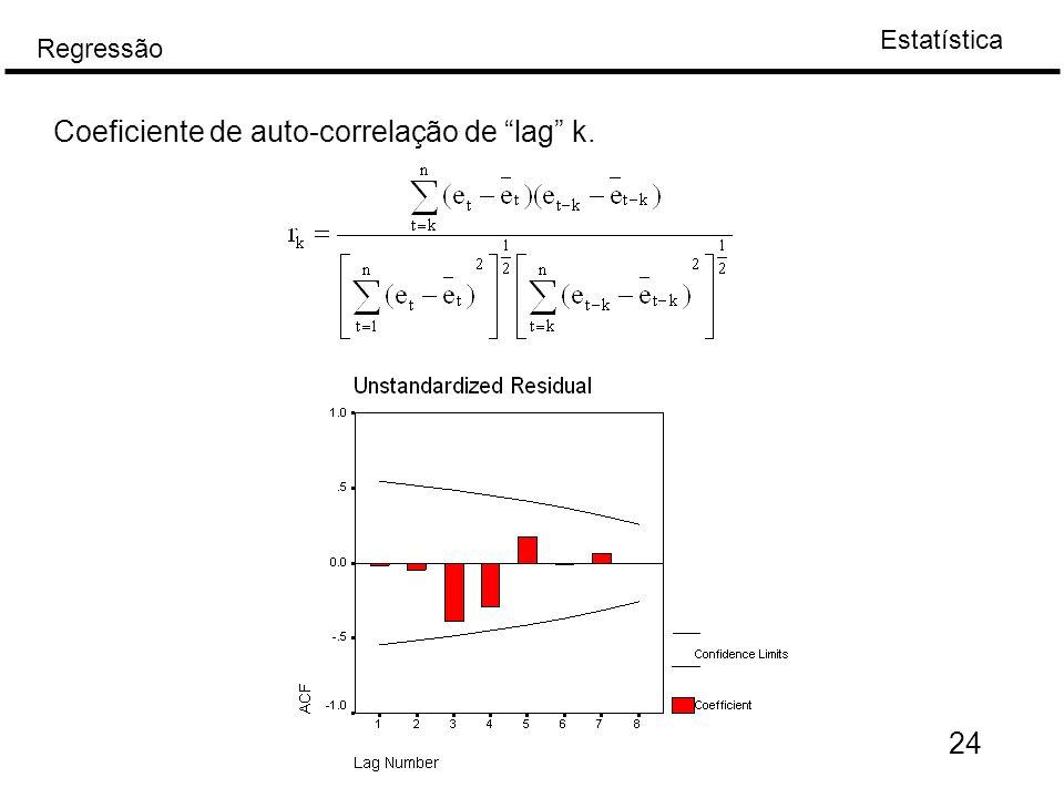 Coeficiente de auto-correlação de lag k.