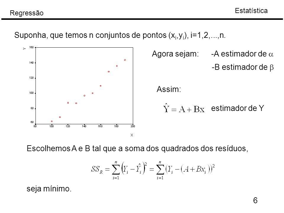 Suponha, que temos n conjuntos de pontos (xi,yi), i=1,2,...,n.