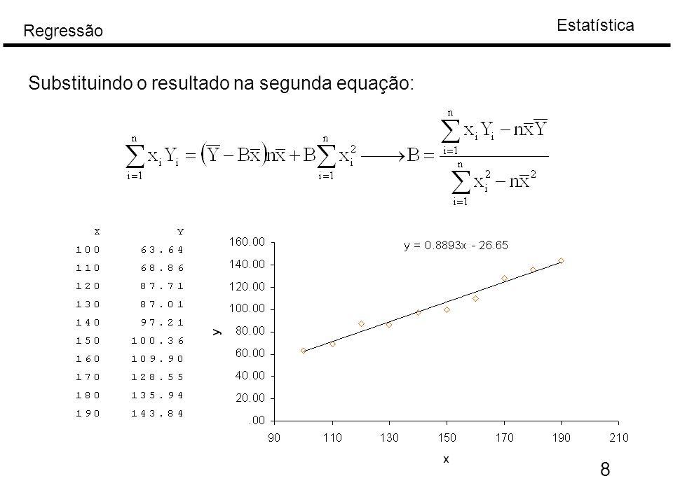 Substituindo o resultado na segunda equação: