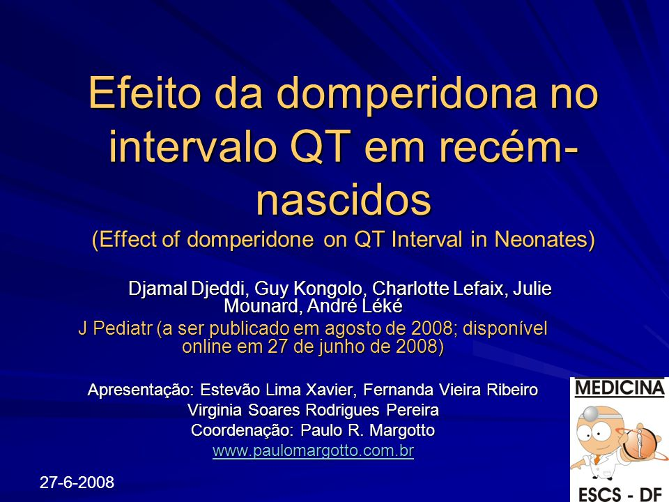 Efeito da domperidona no intervalo QT em recém-nascidos (Effect of domperidone on QT Interval in Neonates)