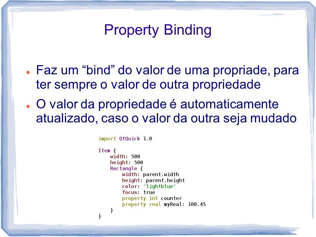 Property Binding Faz um bind do valor de uma propriade, para ter sempre o valor de outra propriedade.