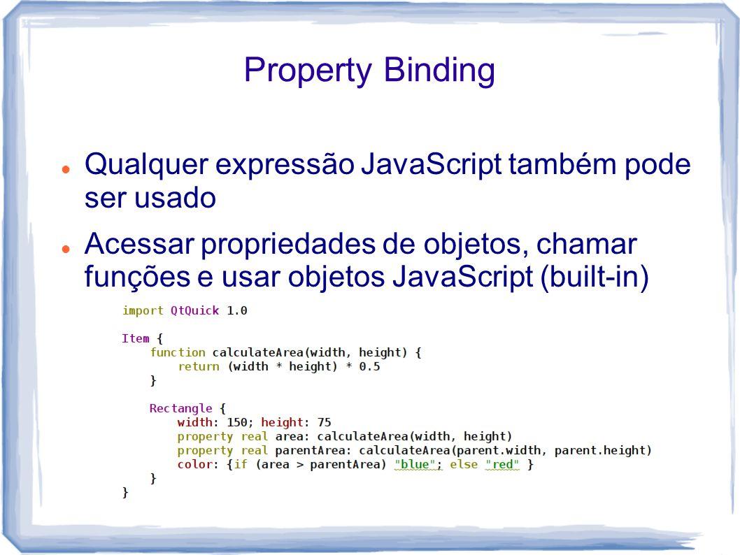 Property Binding Qualquer expressão JavaScript também pode ser usado