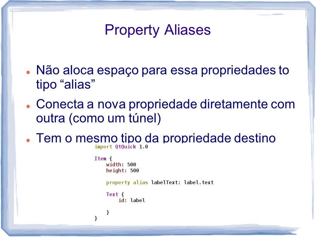 Property Aliases Não aloca espaço para essa propriedades to tipo alias Conecta a nova propriedade diretamente com outra (como um túnel)
