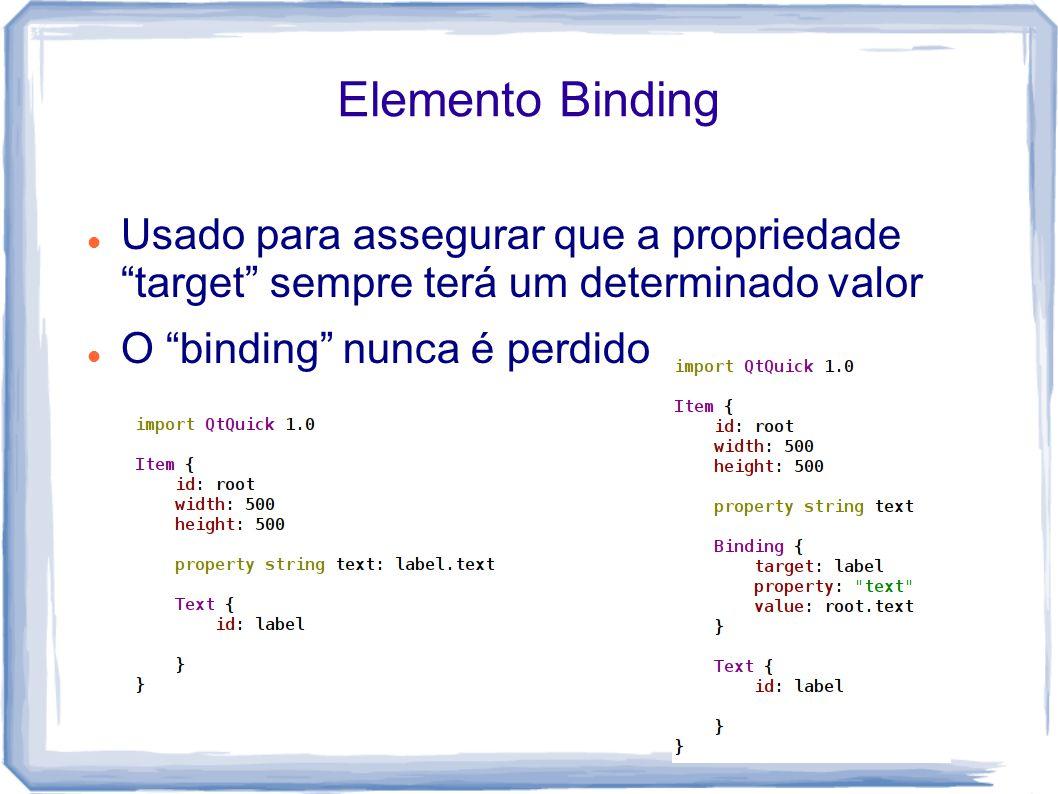 Elemento Binding Usado para assegurar que a propriedade target sempre terá um determinado valor.