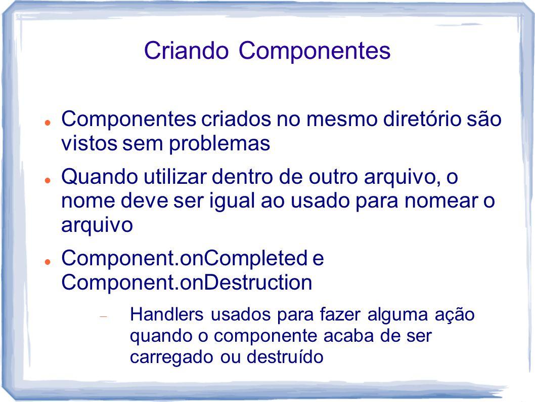 Criando Componentes Componentes criados no mesmo diretório são vistos sem problemas.