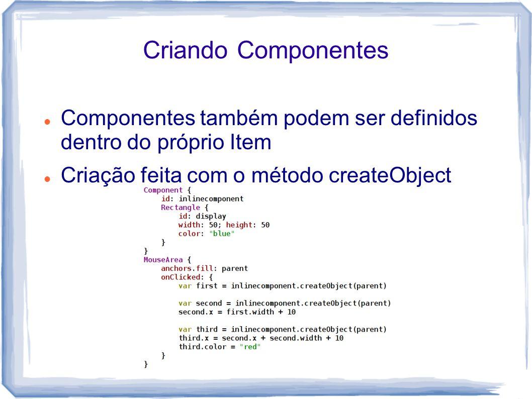 Criando Componentes Componentes também podem ser definidos dentro do próprio Item.
