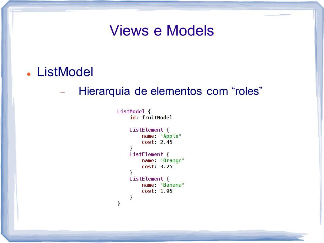 Views e Models ListModel Hierarquia de elementos com roles
