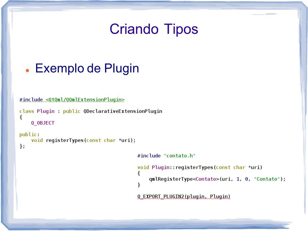 Criando Tipos Exemplo de Plugin