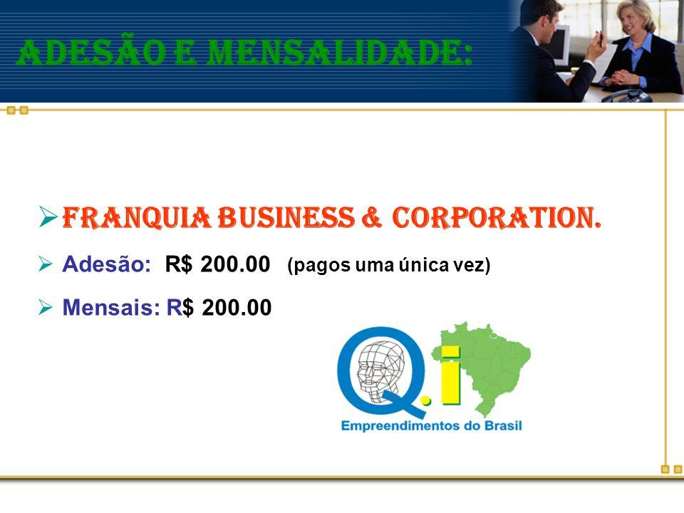 Adesão e Mensalidade: Franquia Business & Corporation.