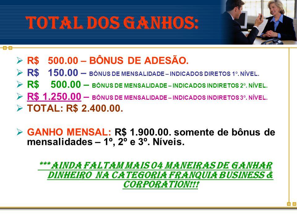 TOTAL DOS Ganhos: R$ 500.00 – BÔNUS DE ADESÃO.