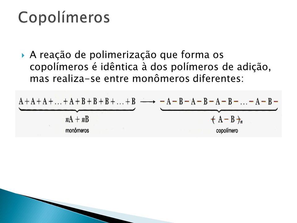 Copolímeros A reação de polimerização que forma os copolímeros é idêntica à dos polímeros de adição, mas realiza-se entre monômeros diferentes: