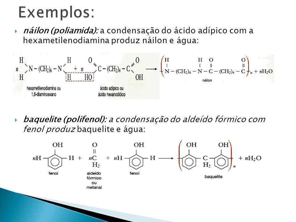 Exemplos: náilon (poliamida): a condensação do ácido adípico com a hexametilenodiamina produz náilon e água: