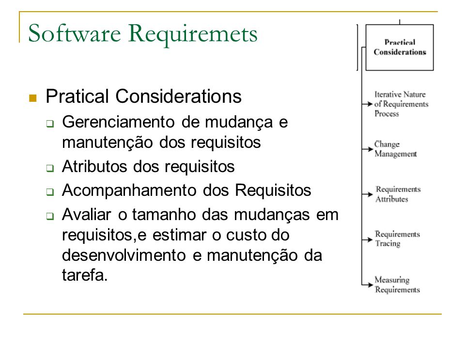 Software Requiremets Pratical Considerations