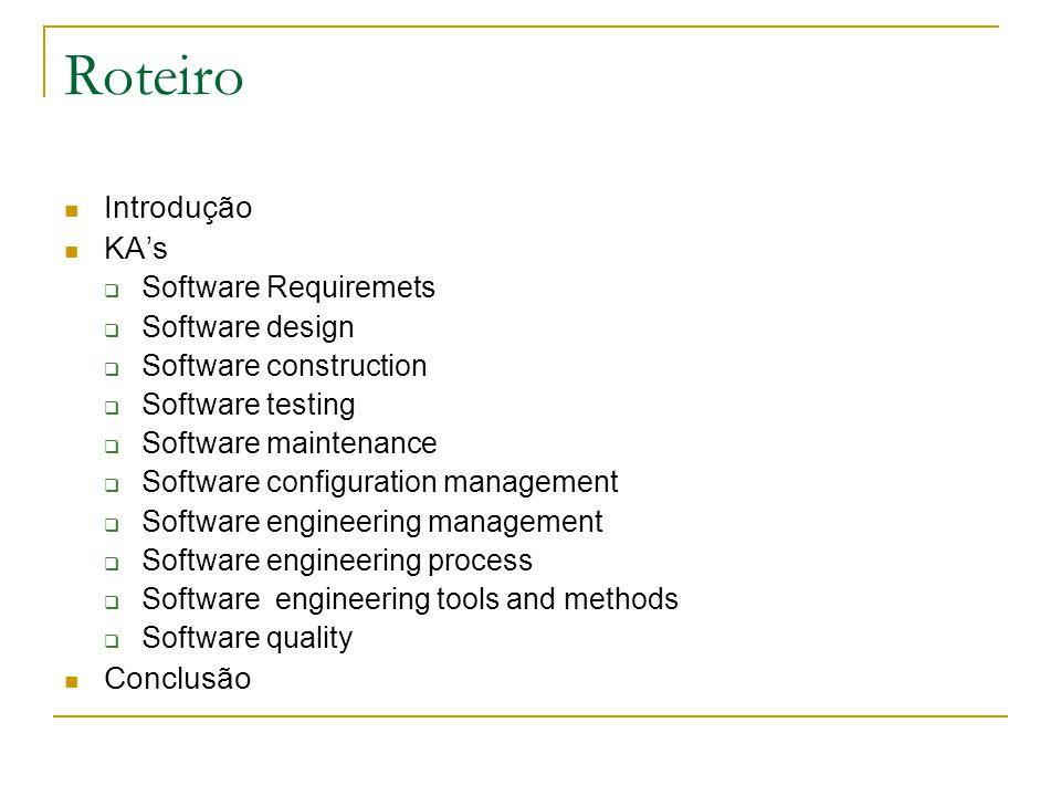 Roteiro Introdução KA's Conclusão Software Requiremets Software design
