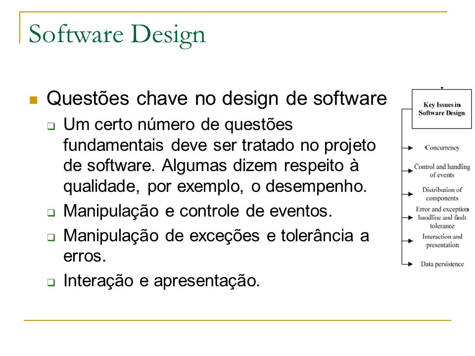Software Design Questões chave no design de software