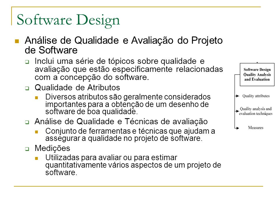 Software Design Análise de Qualidade e Avaliação do Projeto de Software.