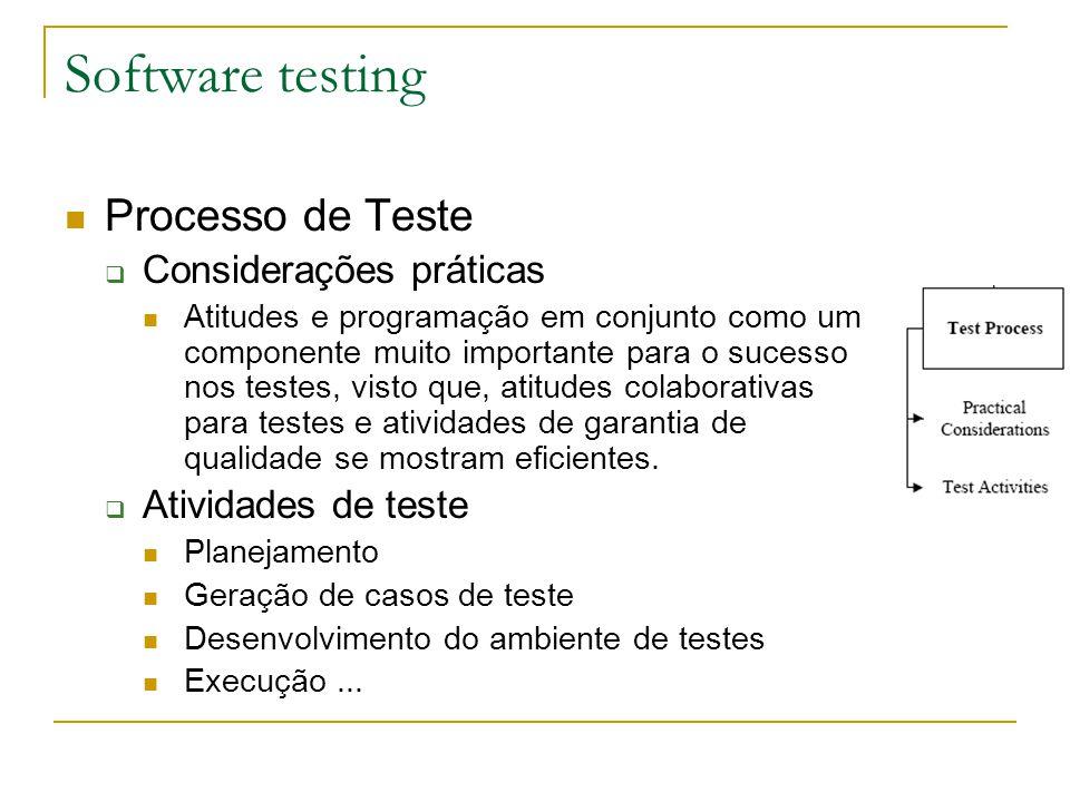 Software testing Processo de Teste Considerações práticas