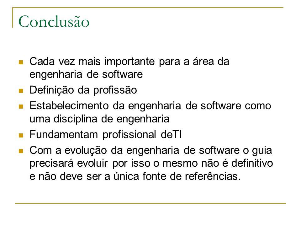 Conclusão Cada vez mais importante para a área da engenharia de software. Definição da profissão.