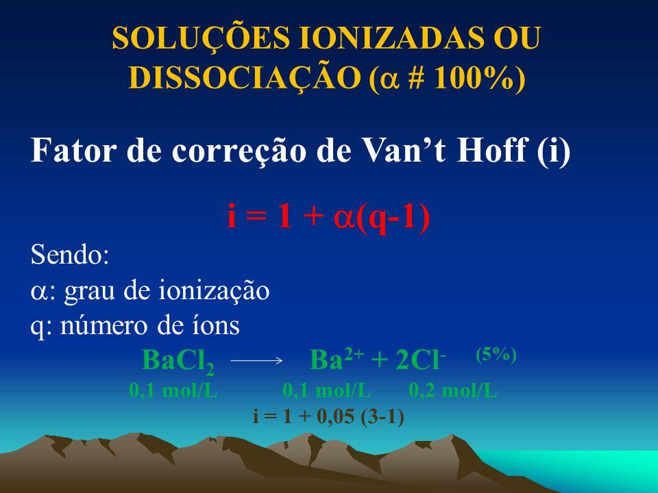 SOLUÇÕES IONIZADAS OU DISSOCIAÇÃO ( # 100%)