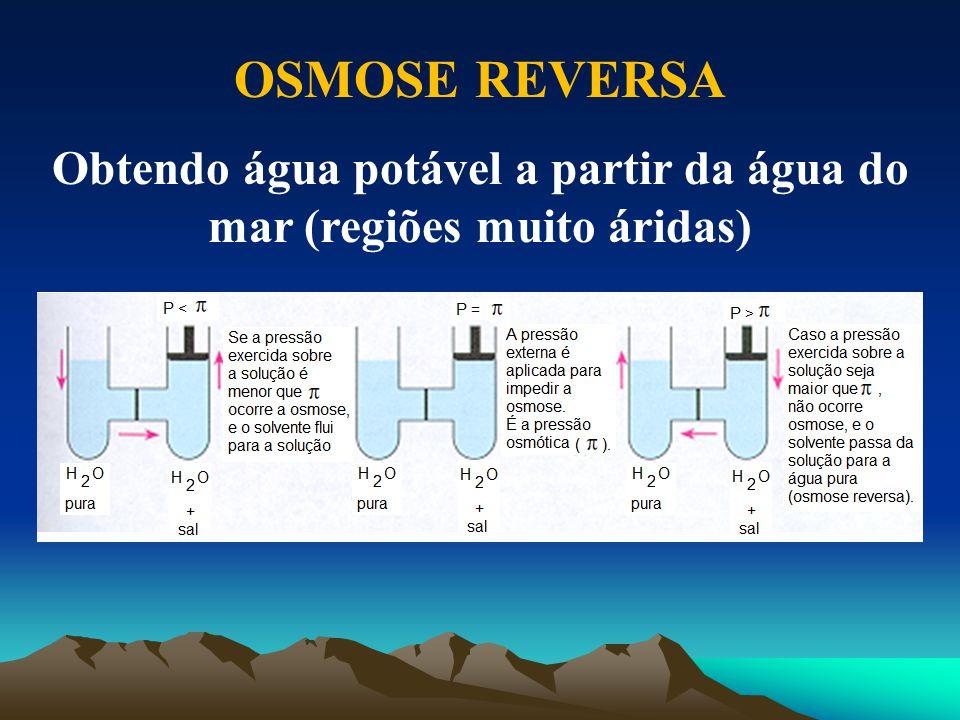 Obtendo água potável a partir da água do mar (regiões muito áridas)