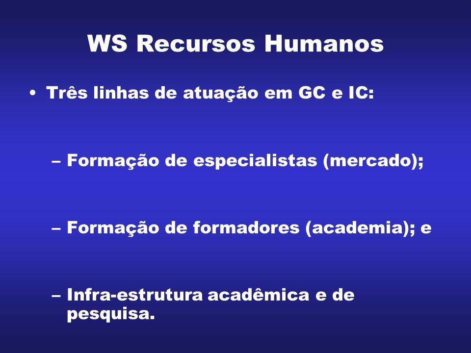 WS Recursos Humanos Três linhas de atuação em GC e IC: