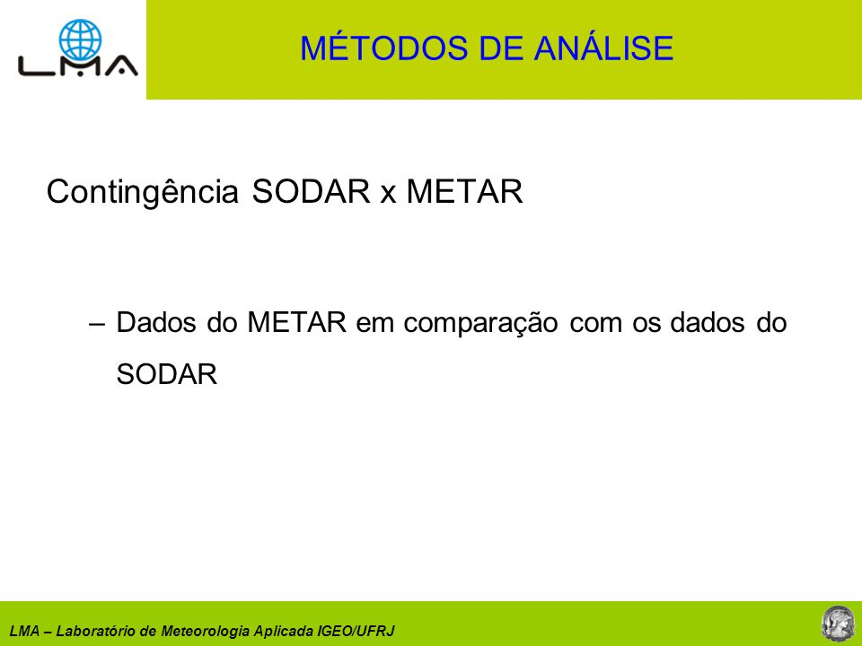 Contingência SODAR x METAR