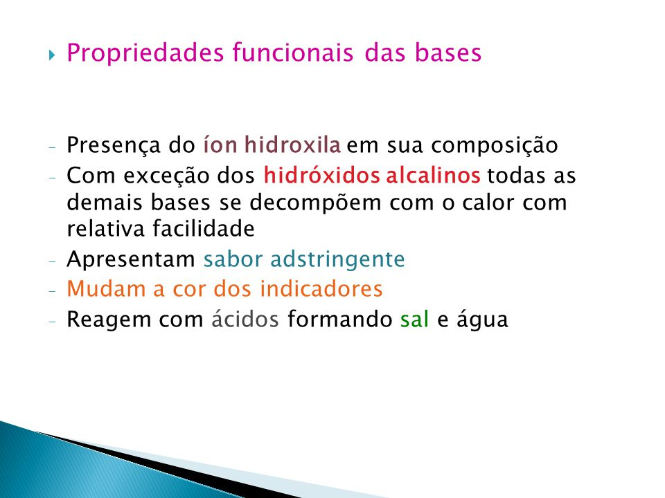 Propriedades funcionais das bases
