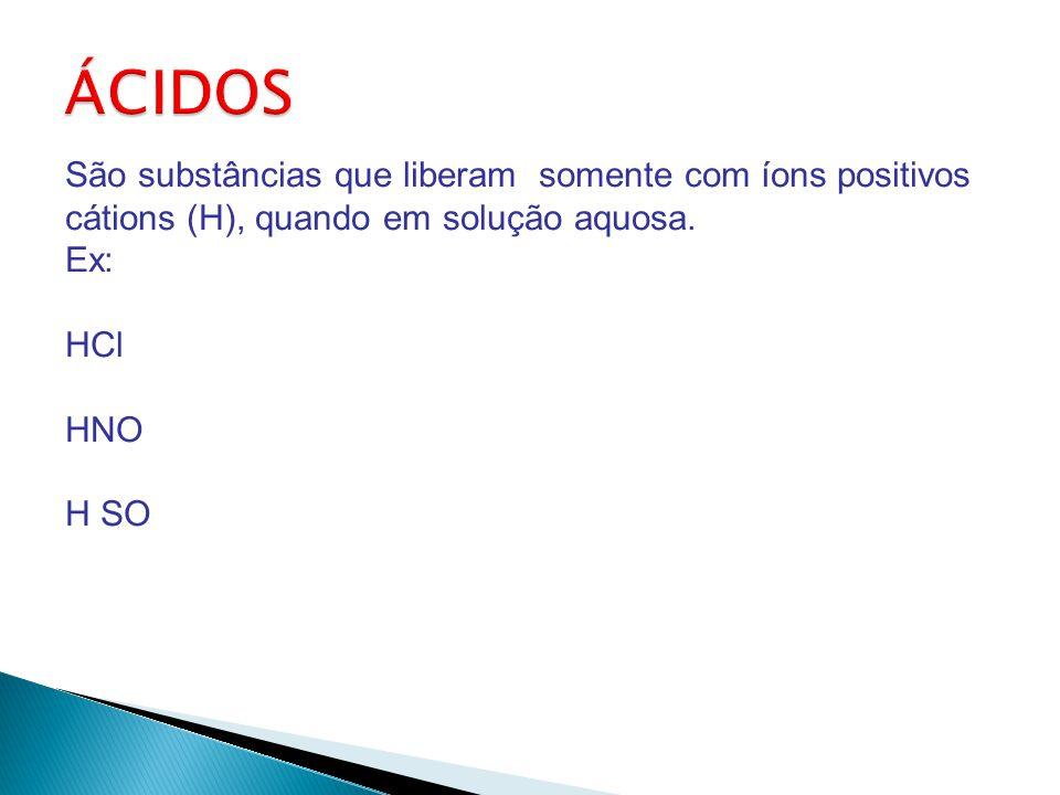 ÁCIDOS São substâncias que liberam somente com íons positivos