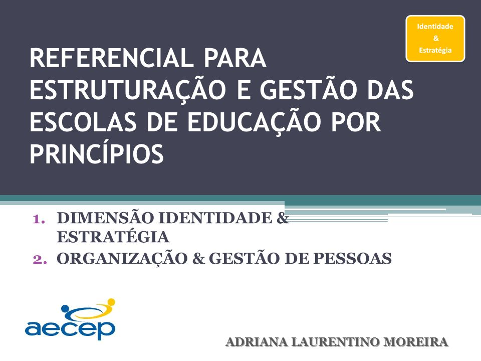 DIMENSÃO IDENTIDADE & ESTRATÉGIA ORGANIZAÇÃO & GESTÃO DE PESSOAS