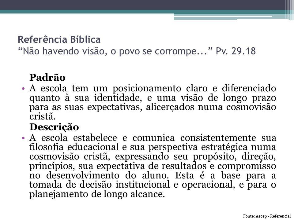 Referência Bíblica Não havendo visão, o povo se corrompe... Pv. 29.18