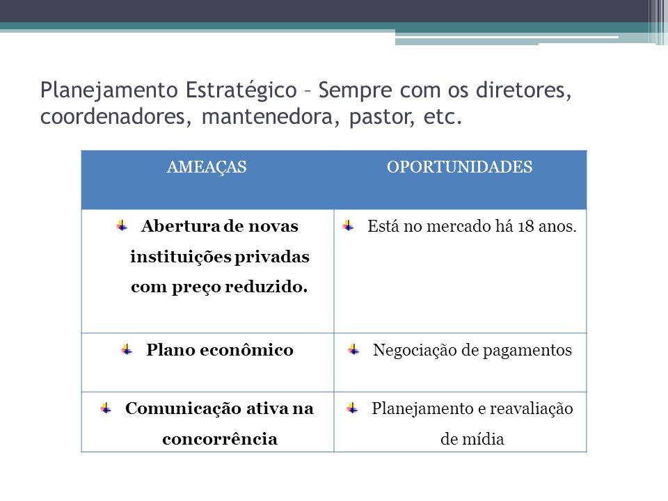 Planejamento Estratégico – Sempre com os diretores, coordenadores, mantenedora, pastor, etc.