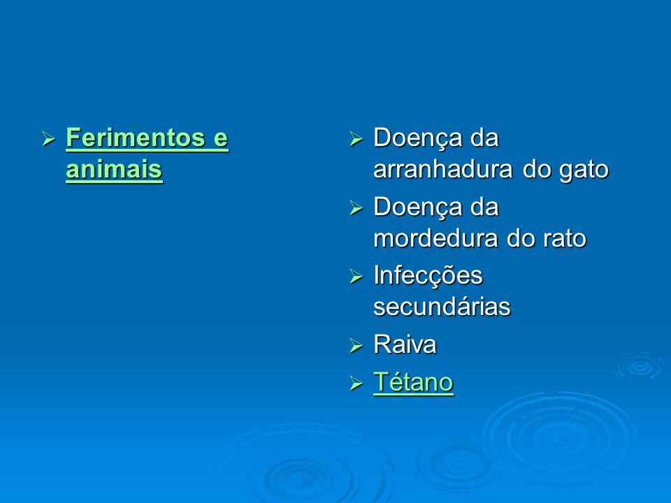 Ferimentos e animais Doença da arranhadura do gato. Doença da mordedura do rato. Infecções secundárias.