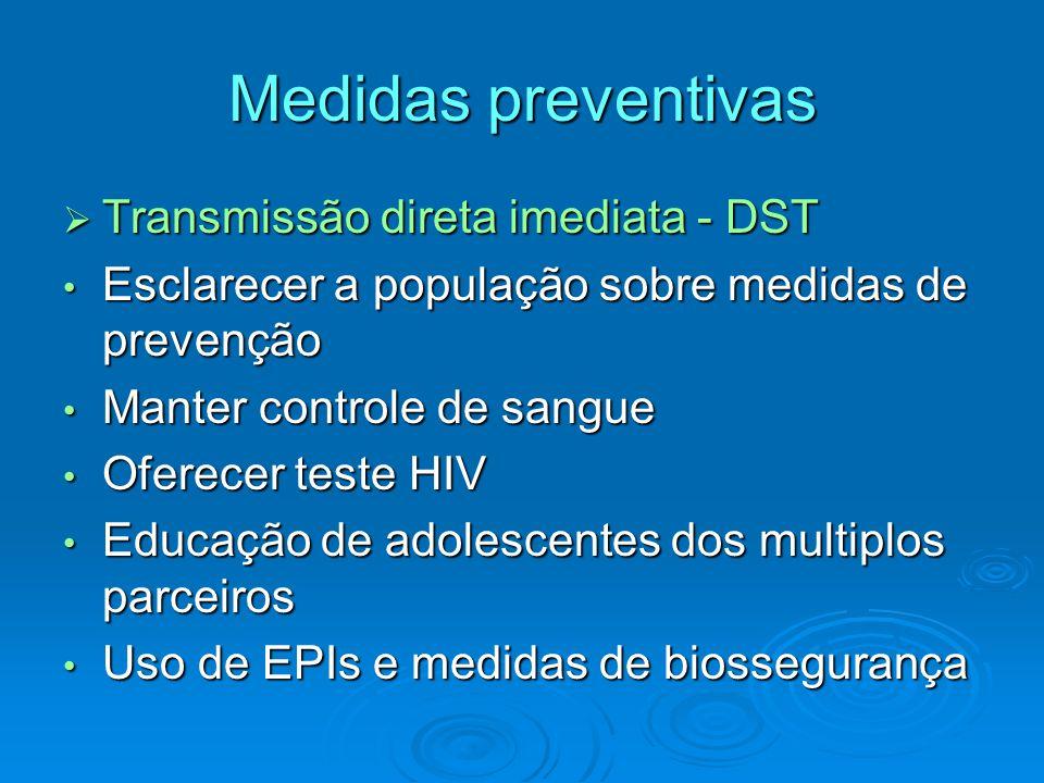 Medidas preventivas Transmissão direta imediata - DST