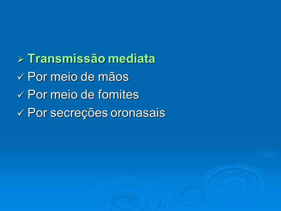 Transmissão mediata Por meio de mãos Por meio de fomites Por secreções oronasais