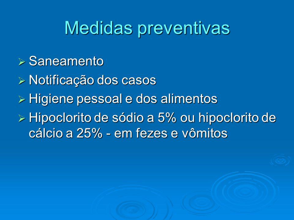 Medidas preventivas Saneamento Notificação dos casos