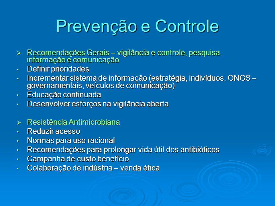 Prevenção e Controle Recomendações Gerais – vigilância e controle, pesquisa, informação e comunicação.