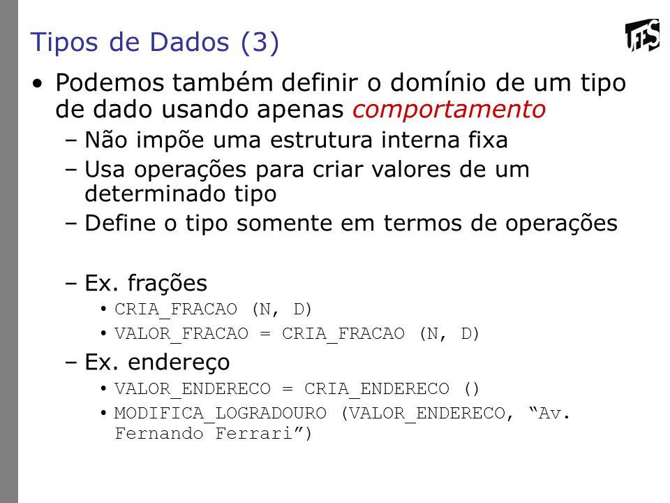 Tipos de Dados (3) Podemos também definir o domínio de um tipo de dado usando apenas comportamento.