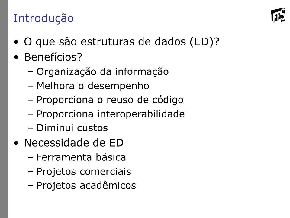 Introdução O que são estruturas de dados (ED) Benefícios