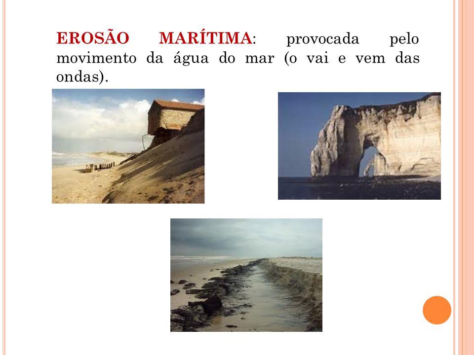 EROSÃO MARÍTIMA: provocada pelo movimento da água do mar (o vai e vem das ondas).