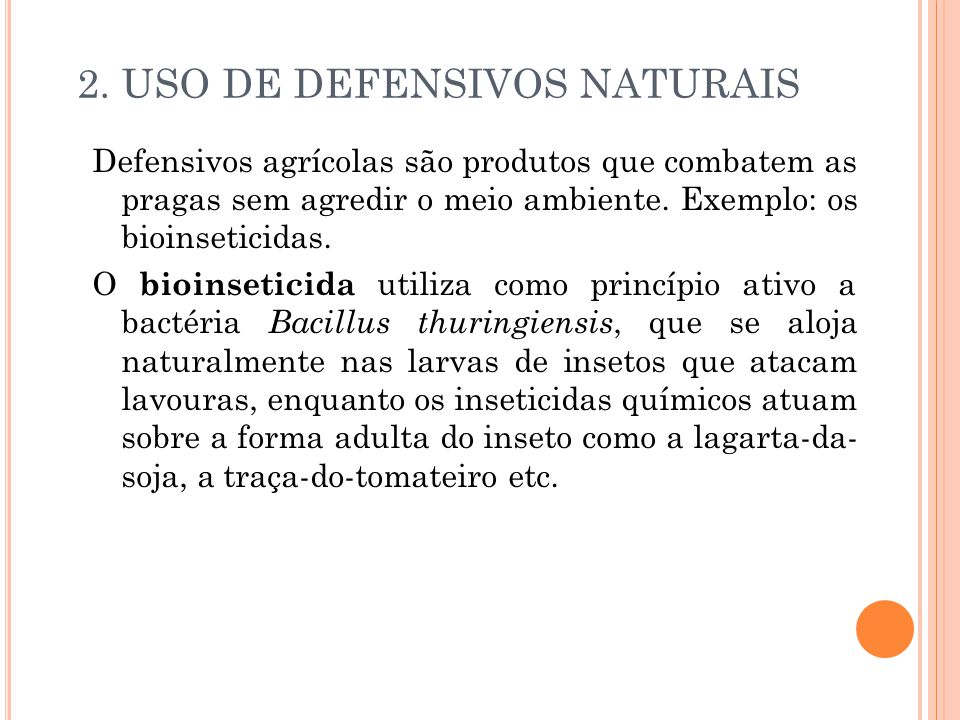 2. USO DE DEFENSIVOS NATURAIS