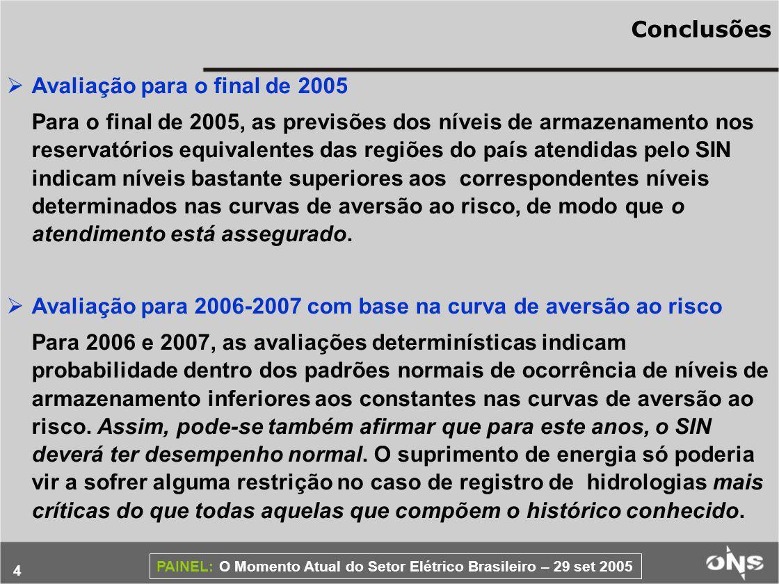Conclusões Avaliação para o final de 2005.
