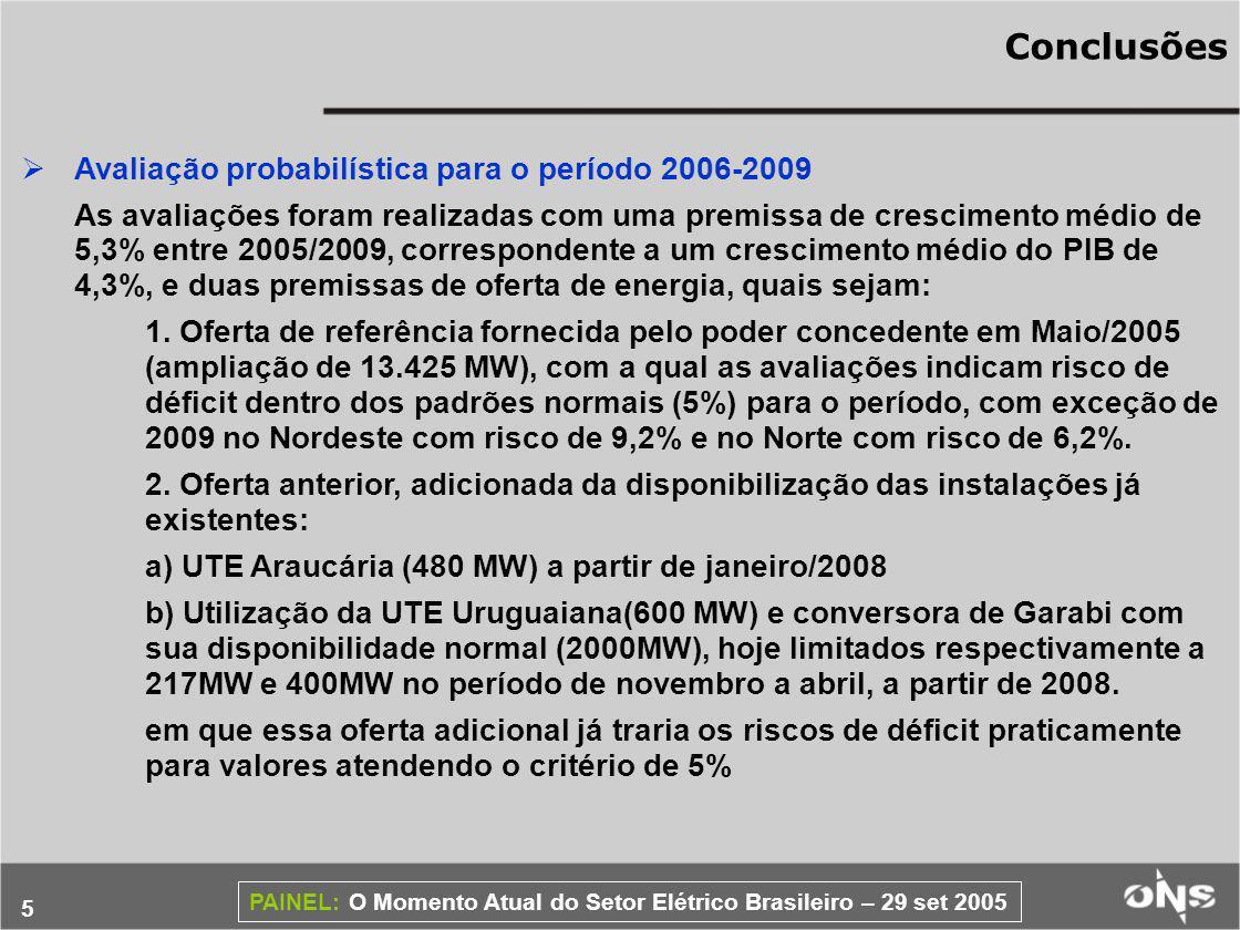 Conclusões Avaliação probabilística para o período 2006-2009