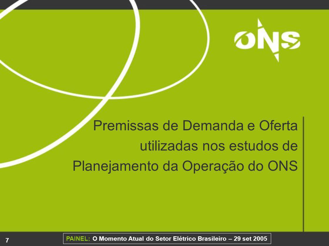 Premissas de Demanda e Oferta utilizadas nos estudos de Planejamento da Operação do ONS