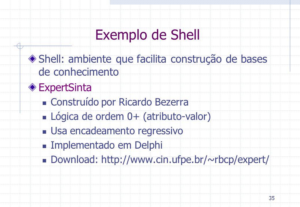 Exemplo de Shell Shell: ambiente que facilita construção de bases de conhecimento. ExpertSinta. Construído por Ricardo Bezerra.