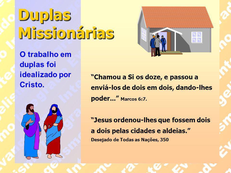 Duplas Missionárias O trabalho em duplas foi idealizado por Cristo.
