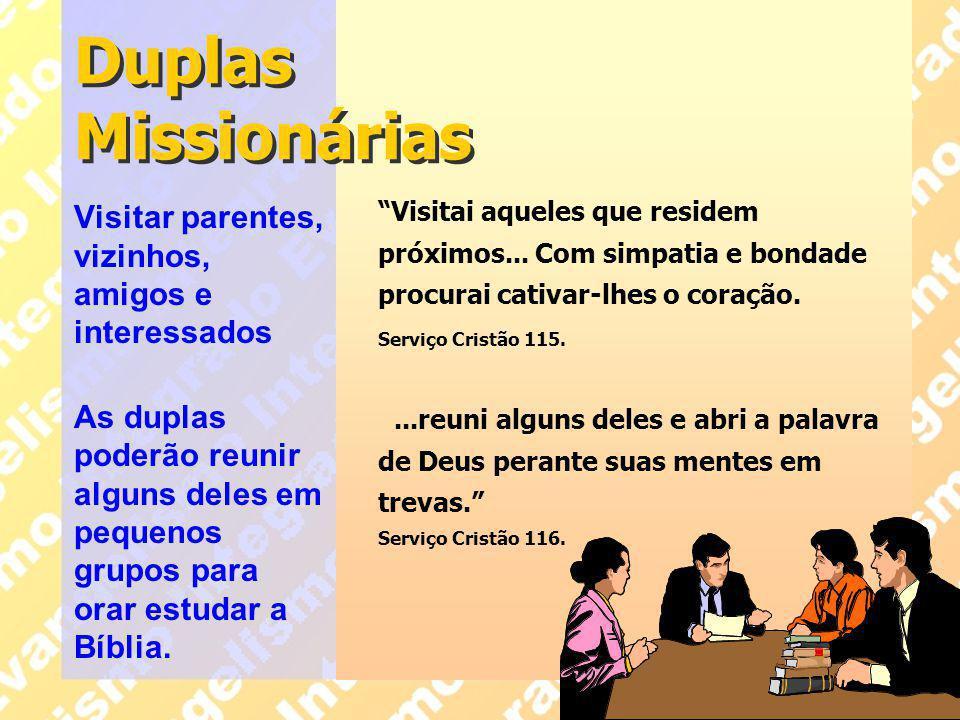 Duplas Missionárias Visitar parentes, vizinhos, amigos e interessados
